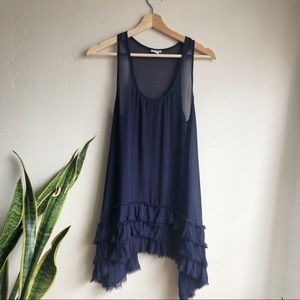 Anthropologie Odille Navy Sheer Long Ruffle Tunic